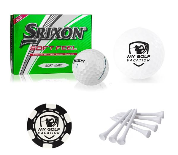 MGV 3 Pack - Dozen Golf Balls, (25) Tees, and Poker Chip